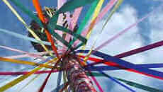 Maypole; I relate this to you, a surpassing festival, The privileged dues of Belltaine: Ale, roots, mild whey, And fresh curds to the fire. - Quatrains on Beltaine, &c from the early 16th century (see the text)
