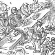 Representation of an Irish chieftain seated at dinner, 1581from http://www.gutenberg.org/files/21852/21852-h/21852-h.htm
